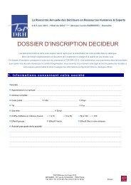 DOSSIER D'INSCRIPTION DECIDEUR - Studyrama