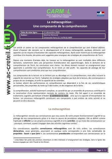 La métacognition : Une composante de la compréhension - Centre ...