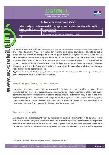 Le travail du brouillon en 6e - Centre académique de ressources sur ...