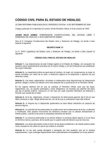 Cdigo Civil Para El Estado De Hidalgo