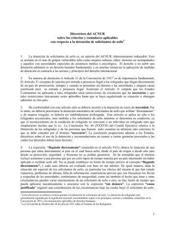 Directrices del ACNUR sobre los criterios y estándares ... - Refworld