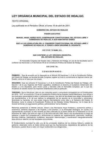LEY ORGÁNICA MUNICIPAL DEL ESTADO DE HIDALGO.