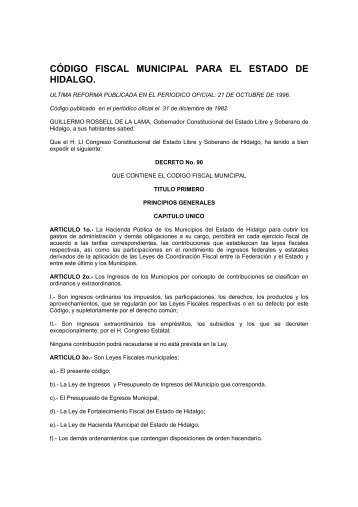 CÓDIGO FISCAL MUNICIPAL PARA EL ESTADO DE HIDALGO.