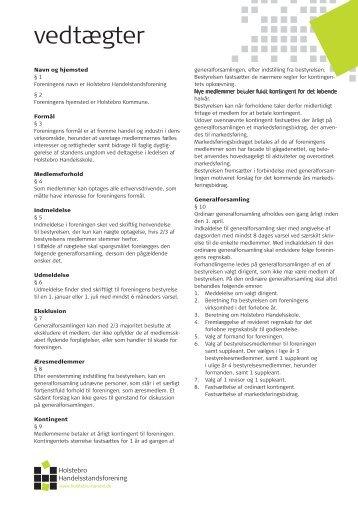 vedtægter - Holstebro Handelsstandsforening