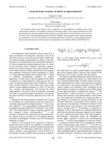 Local electronic structure of defects in superconductors - APS Link ...