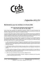 Dépêche 001/03 Manifestations pour les retraites ... - CFDT Finances
