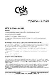 Dépêche n°156/04 CTPM du 9 Novembre 2004 - CFDT Finances