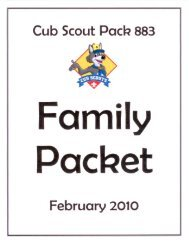 Family Packet – February 2010 - Cub Scout Pack 883