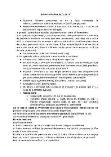 Minuta intalnire proiect din 19 iulie 2012 - IMNR
