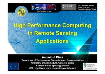 High Performance Computing in Remote Sensing ... - ComplexHPC
