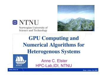 GPU Computing and Nurmerical Algorithms for ... - ComplexHPC.org