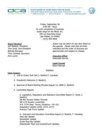 board meeting agenda 6 28 11 the board of guide dogs for the