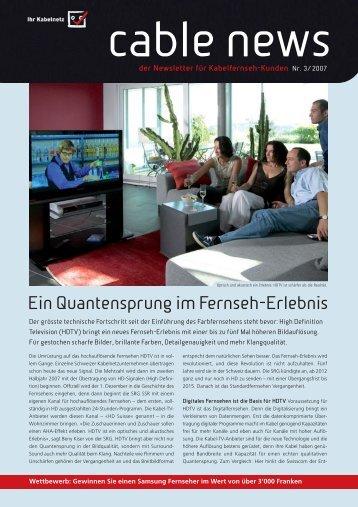 Kabelfernsehen liefert weiter- hin bewährtes Analog-TV - Yetnet