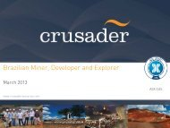 06 March 2013 - Crusader Resources