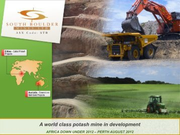 A world class potash mine in development - South Boulder Mines