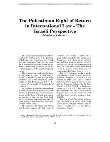 The Israeli Perspective - the Palestinian Refugee ResearchNet