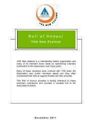 Roll of Honour - YHA New Zealand