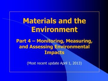 Part 4 - Monitoring, Measuring and Assessing Environmental Impacts