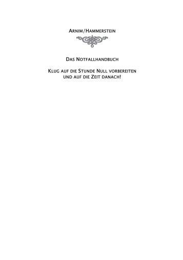 ARNIM/HAMMERSTEIN DAS NOTFALLHANDBUCH KLUG STUNDE NULL ZEIT 1