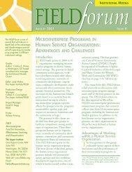 Microenterprise Programs in Human Service Organizations - Field