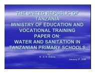 Water and Sanitation in Tanzania Primary Schools