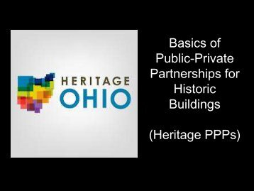 Public-Private Partnerships for Historic Buildings - Heritage Ohio
