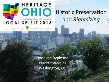 Historic Preservation and Rightsizing - Heritage Ohio