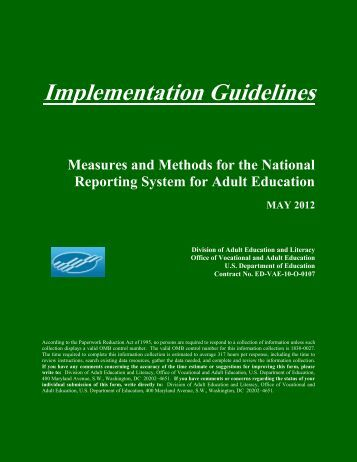 Implementation Guidelines - National Reporting System