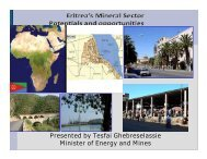 Presented by Tesfai Ghebreselassie Minister of Energy and Mines