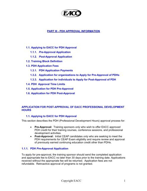 pdh approval information - Employee Assistance Professionals