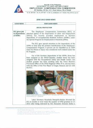 June Good News - Compensation Commission