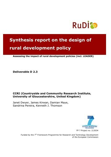 Synthesis report on the design of rural development policy ... - RuDI