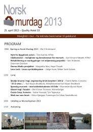 Norsk Murdag 2013 - Programfolder - Bygg uten grenser