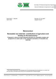 Memorandum Renewable raw materials: contributions of agriculture ...