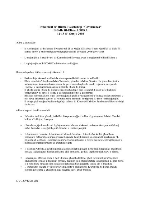 The Citizens' Agora Proposal on Climate Change - Forum