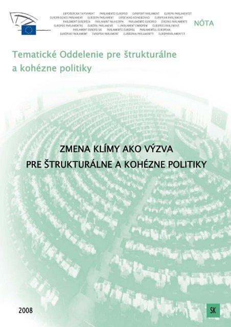 Tematické Oddelenie pre štrukturálne a kohézne politiky ZMENA ...