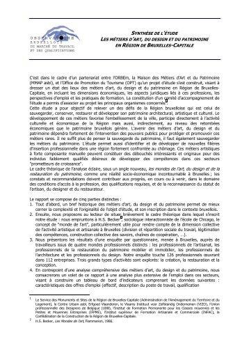 Synthèse de l'étude Les métiers d'art, du design et du ... - Actiris