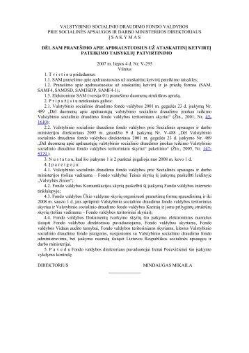 VALSTYBINIO SOCIALINIO DRAUDIMO FONDO VALDYBOS - Tax.lt