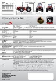 TECHNISCHE DATEN: TGF ERGIT - UNIDIREKTIONALER TRAKTOR 71PS + 87PS n CARRARO