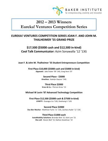 2012 – 2013 Winners Eureka! Ventures Competition Series