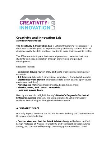 Creativity and Innovation Lab - Baker Institute for Entrepreneurship ...