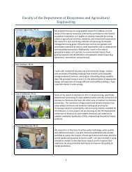 Faculty Research Summary - Biosystems and Agricultural Engineering
