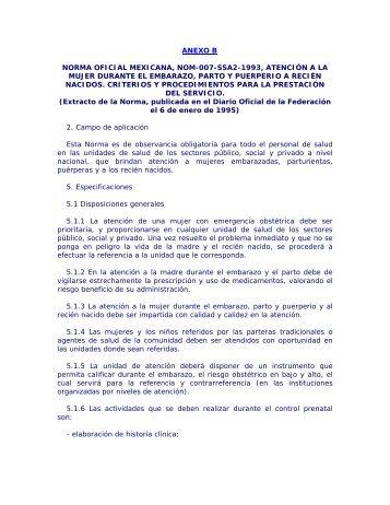 anexo b norma oficial mexicana, nom-007-ssa2-1993, atención a la ...