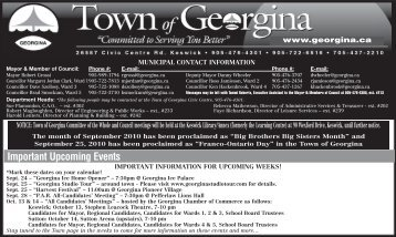 Important Upcoming Events - Town of Georgina
