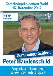 Flyer Peter Haudenschild - FDP Niederbipp
