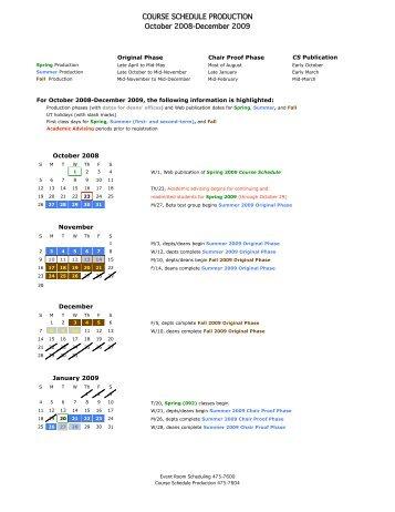 Prod Calendar 08-09 - Office of the Registrar