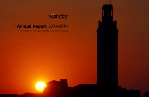 Annual Report 2009–2010 - Office of the Registrar - The University ...