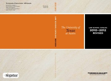 Law School Catalog, 2010-2012 - Office of the Registrar
