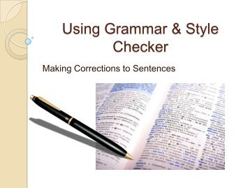 Using Grammar & Style Checker - Academic Experts