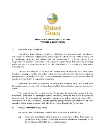 FRAUD REPORTING AND INVESTIGATION ... - Midas Gold Corp.